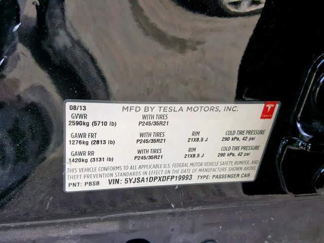 2013 TESLA MODEL S P85 изображение 5