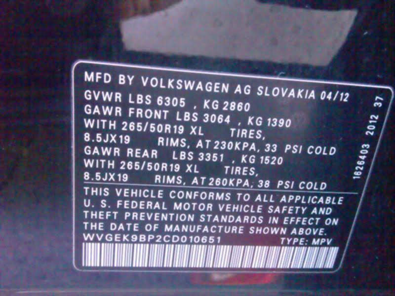 2012 Volkswagen Touareg зображення 6
